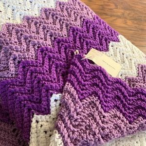 Chevron Crocheted King Size Blanket Hand Made